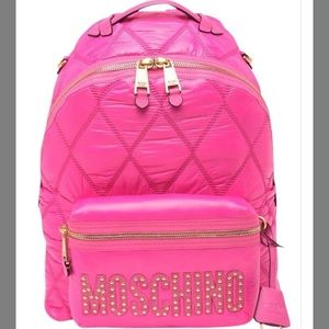 NWT Authentic Moschino Quilted Pink  Backpack Bag